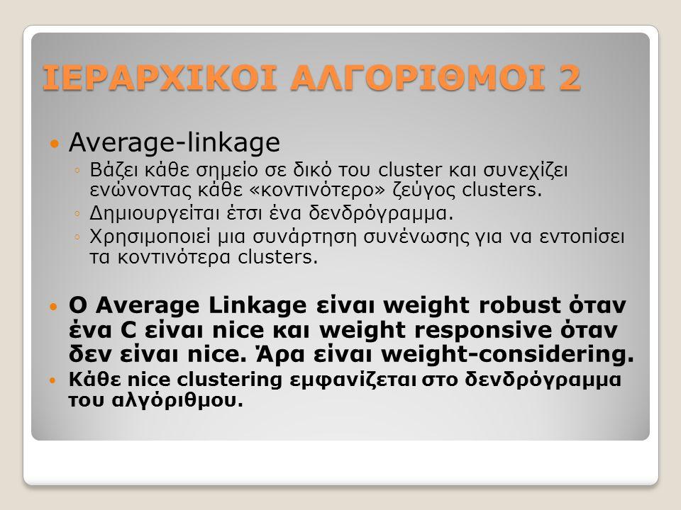 ΙΕΡΑΡΧΙΚΟΙ ΑΛΓΟΡΙΘΜΟΙ 2 Average-linkage ◦Βάζει κάθε σημείο σε δικό του cluster και συνεχίζει ενώνοντας κάθε «κοντινότερο» ζεύγος clusters.