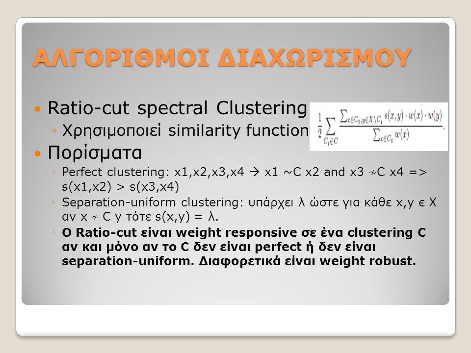 ΑΛΓΟΡΙΘΜΟΙ ΔΙΑΧΩΡΙΣΜΟΥ Ratio-cut spectral Clustering ◦Χρησιμοποιεί similarity function Πορίσματα ◦Perfect clustering: x1,x2,x3,x4  x1 ~C x2 and x3 ≁ C x4 => s(x1,x2) > s(x3,x4) ◦Separation-uniform clustering: υπάρχει λ ώστε για κάθε x,y є X αν x ≁ C y τότε s(x,y) = λ.