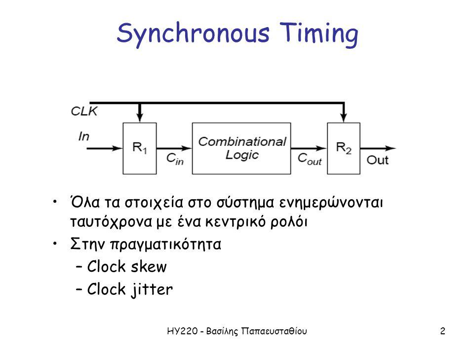 ΗΥ220 - Βασίλης Παπαευσταθίου3 Plesiochronous and Asynchronous Timing Plesiochronous Timing – Τα blocks έχουν ανεξάρτητα ρολόγια από ξεχωριστούς ταλαντωτές – Κύκλωμα ανάκτησης ρολογιού – Συχρονισμός μεταξύ διαφορετικών clock domains FIFO Asynchronous timing – Αυτοχρονιζόμενα (self-timed) συστήματα – Δεν υπάρχει ανάγκη για κεντρικό ρολόι – Υπάρχει extra «κόστος» στα κυκλώματα (handshaking) – Αυξημένη πολυπλοκότητα