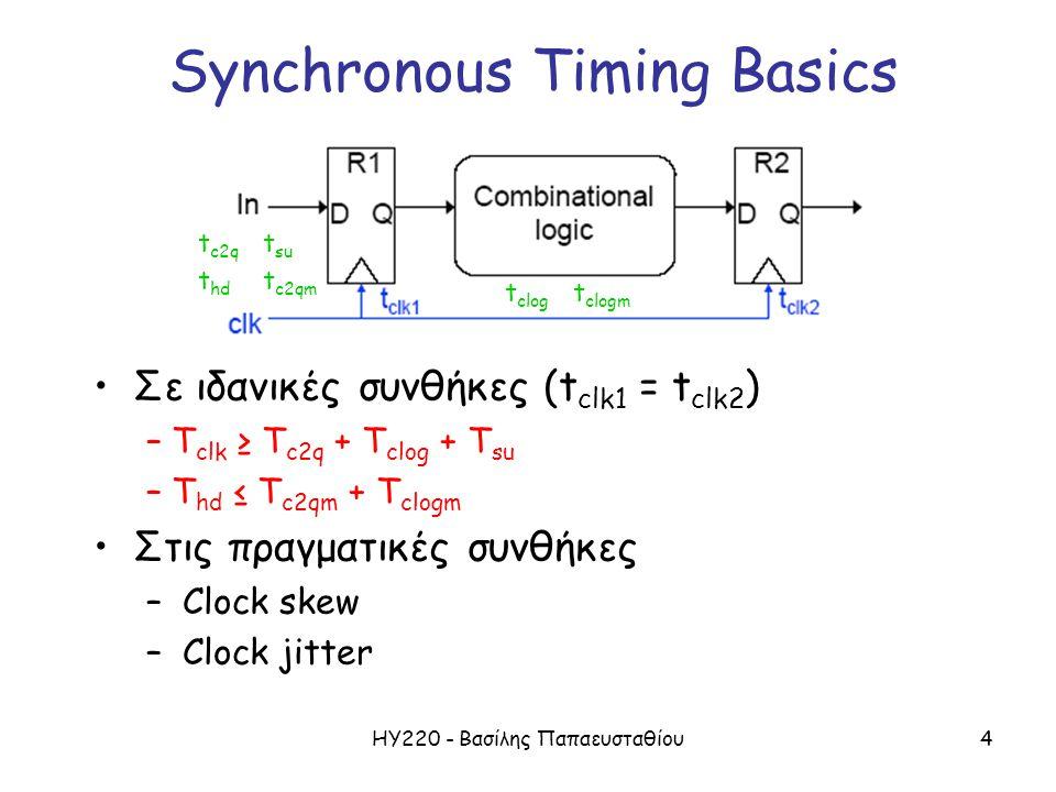 ΗΥ220 - Βασίλης Παπαευσταθίου4 Synchronous Timing Basics t c2q t su t hd t c2qm t clog t clogm Σε ιδανικές συνθήκες (t clk1 = t clk2 ) – T clk ≥ T c2q + T clog + T su – T hd ≤ T c2qm + T clogm Στις πραγματικές συνθήκες – Clock skew – Clock jitter