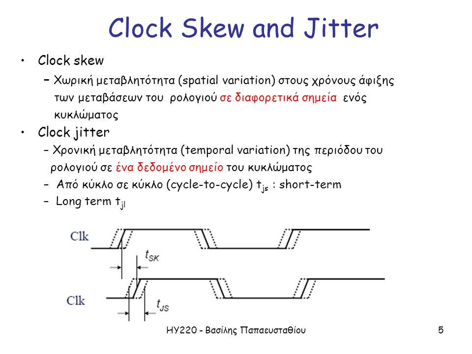 ΗΥ220 - Βασίλης Παπαευσταθίου5 Clock Skew and Jitter Clock skew – Χωρική μεταβλητότητα (spatial variation) στους χρόνους άφιξης των μεταβάσεων του ρολογιού σε διαφορετικά σημεία ενός κυκλώματος Clock jitter – Χρονική μεταβλητότητα (temporal variation) της περιόδου του ρολογιού σε ένα δεδομένο σημείο του κυκλώματος – Από κύκλο σε κύκλο (cycle-to-cycle) t js : short-term – Long term t jl