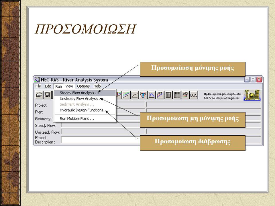 ΠΡΟΣΟΜΟΙΩΣΗ Προσομοίωση μόνιμης ροής Προσομοίωση μη μόνιμης ροής Προσομοίωση διάβρωσης