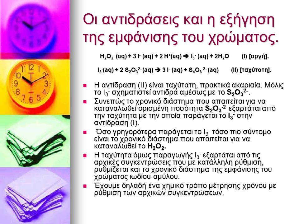 Οι αντιδράσεις και η εξήγηση της εμφάνισης του χρώματος. H 2 Ο 2 (aq) + 3 I - (aq) + 2 H + (aq)  I 3 - (aq) + 2H 2 O (Ι) [αργή]. I 3 - (aq) + 2 S 2 O