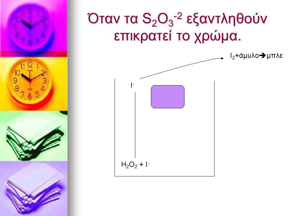 Όταν τα S 2 O 3 -2 εξαντληθούν επικρατεί το χρώμα. Η 2 Ο 2 + Ι - Ι-Ι- Ι 2 +άμυλο  μπλε