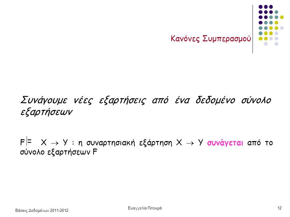 Βάσεις Δεδομένων 2011-2012 Ευαγγελία Πιτουρά12 Κανόνες Συμπερασμού Συνάγουμε νέες εξαρτήσεις από ένα δεδομένο σύνολο εξαρτήσεων F X  Y : η συναρτησιακή εξάρτηση X  Y συνάγεται από το σύνολο εξαρτήσεων F =