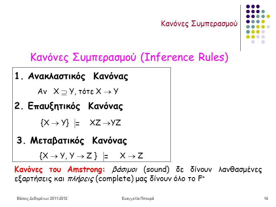 Βάσεις Δεδομένων 2011-2012Ευαγγελία Πιτουρά14 Κανόνες Συμπερασμού Κανόνες Συμπερασμού (Inference Rules) 1. Ανακλαστικός Κανόνας Αν Χ  Υ, τότε X  Y 3