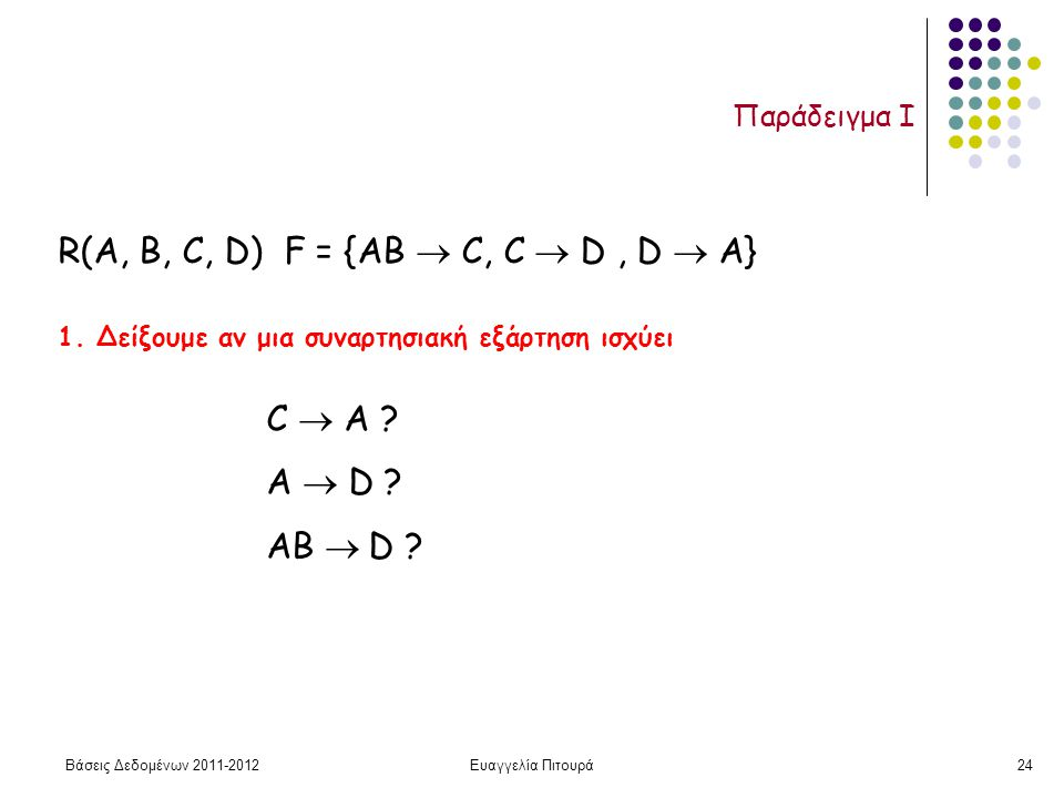 Βάσεις Δεδομένων 2011-2012Ευαγγελία Πιτουρά24 Παράδειγμα I 1. Δείξουμε αν μια συναρτησιακή εξάρτηση ισχύει R(A, B, C, D) F = {AB  C, C  D, D  A} C