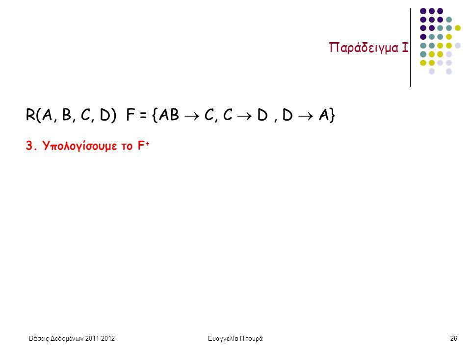 Βάσεις Δεδομένων 2011-2012Ευαγγελία Πιτουρά26 Παράδειγμα I 3. Υπολογίσουμε το F + R(A, B, C, D) F = {AB  C, C  D, D  A}