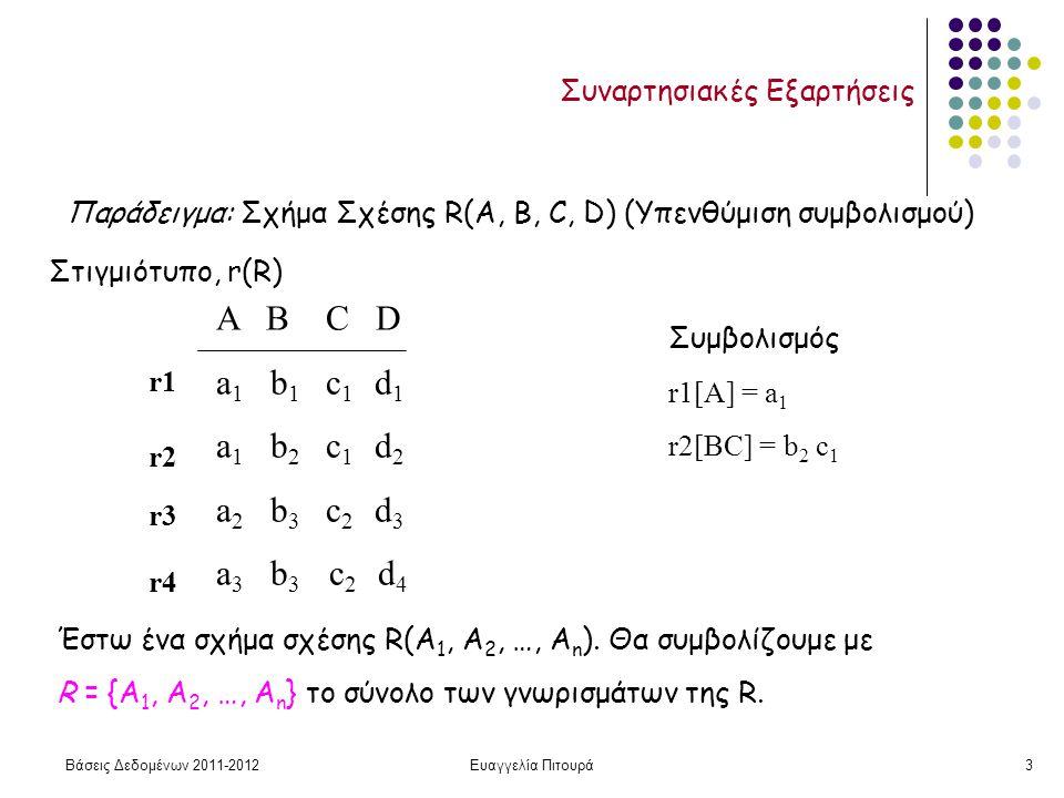 Βάσεις Δεδομένων 2011-2012Ευαγγελία Πιτουρά3 Συναρτησιακές Εξαρτήσεις Παράδειγμα: Σχήμα Σχέσης R(A, B, C, D) (Υπενθύμιση συμβολισμού) Α Β C D a 1 b 1 c 1 d 1 a 1 b 2 c 1 d 2 a 2 b 3 c 2 d 3 a 3 b 3 c 2 d 4 Στιγμιότυπο, r(R) r1 r2 r3 r4 Συμβολισμός r1[A] = a 1 r2[BC] = b 2 c 1 Έστω ένα σχήμα σχέσης R(Α 1, Α 2, …, Α n ).