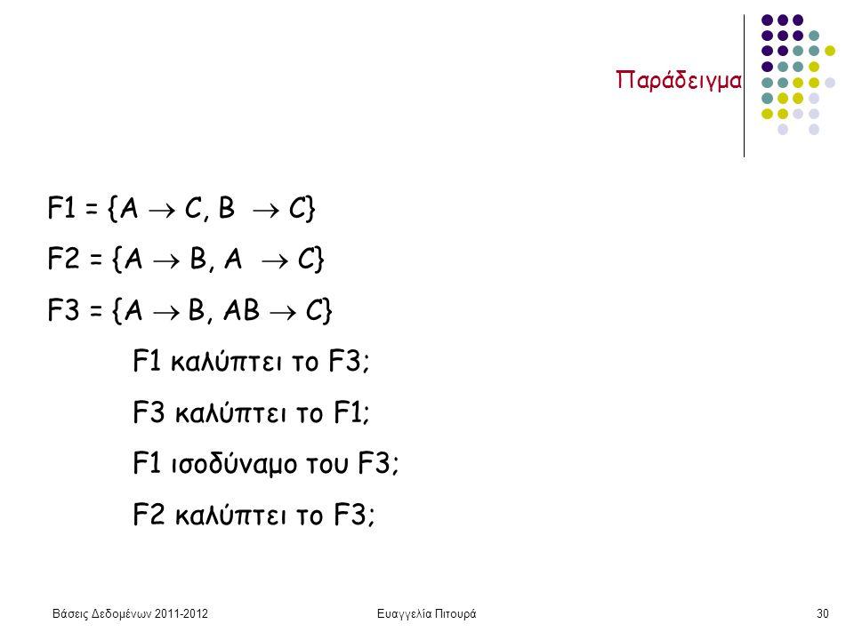 Βάσεις Δεδομένων 2011-2012Ευαγγελία Πιτουρά30 Παράδειγμα F1 = {A  C, B  C} F2 = {A  B, A  C} F3 = {A  B, AB  C} F1 καλύπτει το F3; F3 καλύπτει το F1; F1 ισοδύναμο του F3; F2 καλύπτει το F3;