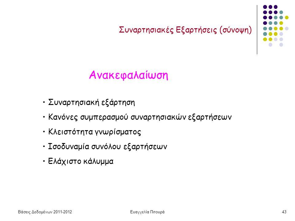 Βάσεις Δεδομένων 2011-2012Ευαγγελία Πιτουρά43 Συναρτησιακές Εξαρτήσεις (σύνοψη) Ανακεφαλαίωση Συναρτησιακή εξάρτηση Κανόνες συμπερασμού συναρτησιακών