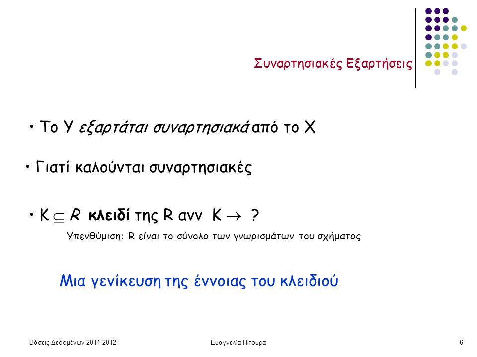 Βάσεις Δεδομένων 2011-2012Ευαγγελία Πιτουρά6 Συναρτησιακές Εξαρτήσεις To Y εξαρτάται συναρτησιακά από το X Γιατί καλούνται συναρτησιακές Κ  R κλειδί