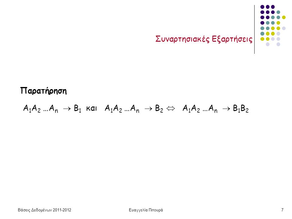Βάσεις Δεδομένων 2011-2012Ευαγγελία Πιτουρά28 Κάλυμμα Απλοποίηση ενός δοσμένου συνόλου συναρτησιακών εξαρτήσεων χωρίς να μεταβάλλουμε την κλειστότητά του Έστω δυο σύνολα συναρτησιακών εξαρτήσεων E και F Λέμε ότι το F καλύπτει το E (ή το Ε καλύπτεται από το F), αν κάθε ΣΕ στο Ε, ανήκει στο F + (δηλαδή, συνάγεται από το F) (αλλιώς, Ε  F + ) Δυο σύνολα συναρτησιακών εξαρτήσεων E και F είναι ισοδύναμα ανν E + = F +.