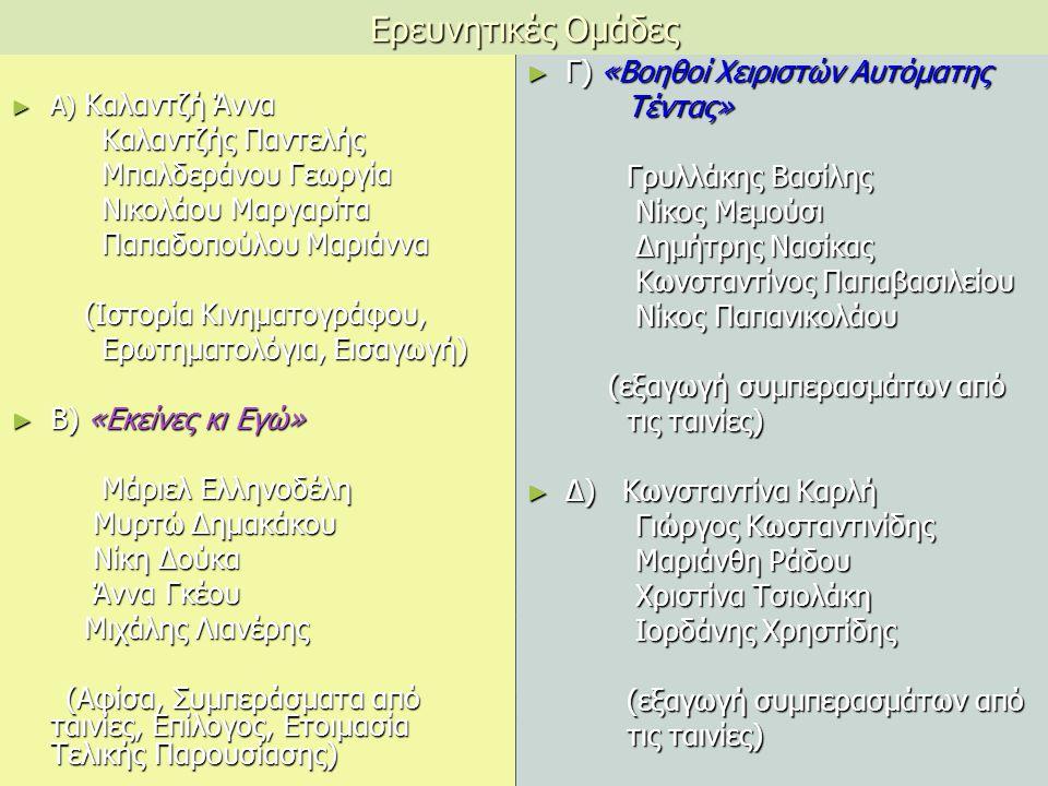 Ερευνητικές Ομάδες ► Α) Καλαντζή Άννα Καλαντζής Παντελής Καλαντζής Παντελής Μπαλδεράνου Γεωργία Μπαλδεράνου Γεωργία Νικολάου Μαργαρίτα Νικολάου Μαργαρίτα Παπαδοπούλου Μαριάννα Παπαδοπούλου Μαριάννα (Ιστορία Κινηματογράφου, (Ιστορία Κινηματογράφου, Ερωτηματολόγια, Εισαγωγή) Ερωτηματολόγια, Εισαγωγή) ► Β) «Εκείνες κι Εγώ» Μάριελ Ελληνοδέλη Μάριελ Ελληνοδέλη Μυρτώ Δημακάκου Μυρτώ Δημακάκου Νίκη Δούκα Νίκη Δούκα Άννα Γκέου Άννα Γκέου Μιχάλης Λιανέρης Μιχάλης Λιανέρης (Αφίσα, Συμπεράσματα από ταινίες, Επίλογος, Ετοιμασία Τελικής Παρουσίασης) (Αφίσα, Συμπεράσματα από ταινίες, Επίλογος, Ετοιμασία Τελικής Παρουσίασης) ► Γ) «Βοηθοί Χειριστών Αυτόματης Τέντας» Γρυλλάκης Βασίλης Νίκος Μεμούσι Δημήτρης Νασίκας Κωνσταντίνος Παπαβασιλείου Νίκος Παπανικολάου (εξαγωγή συμπερασμάτων από τις ταινίες) ► Δ) Κωνσταντίνα Καρλή Γιώργος Κωσταντινίδης Μαριάνθη Ράδου Χριστίνα Τσιολάκη Ιορδάνης Χρηστίδης (εξαγωγή συμπερασμάτων από τις ταινίες)