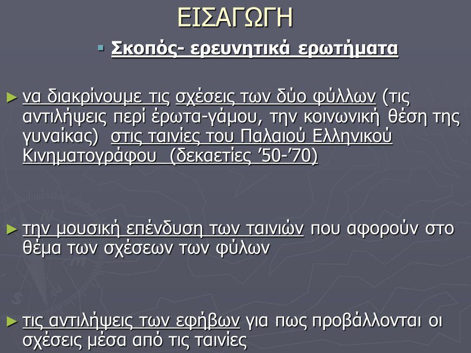 ΕΙΣΑΓΩΓΗ  Σκοπός- ερευνητικά ερωτήματα ► να διακρίνουμε τις σχέσεις των δύο φύλλων (τις αντιλήψεις περί έρωτα-γάμου, την κοινωνική θέση της γυναίκας) στις ταινίες του Παλαιού Ελληνικού Κινηματογράφου (δεκαετίες '50-'70) ► την μουσική επένδυση των ταινιών που αφορούν στο θέμα των σχέσεων των φύλων ► τις αντιλήψεις των εφήβων για πως προβάλλονται οι σχέσεις μέσα από τις ταινίες