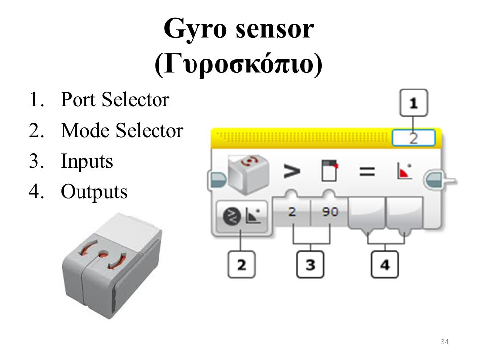 Gyro sensor (Γυροσκόπιο) 1.Port Selector 2.Mode Selector 3.Inputs 4.Outputs 34
