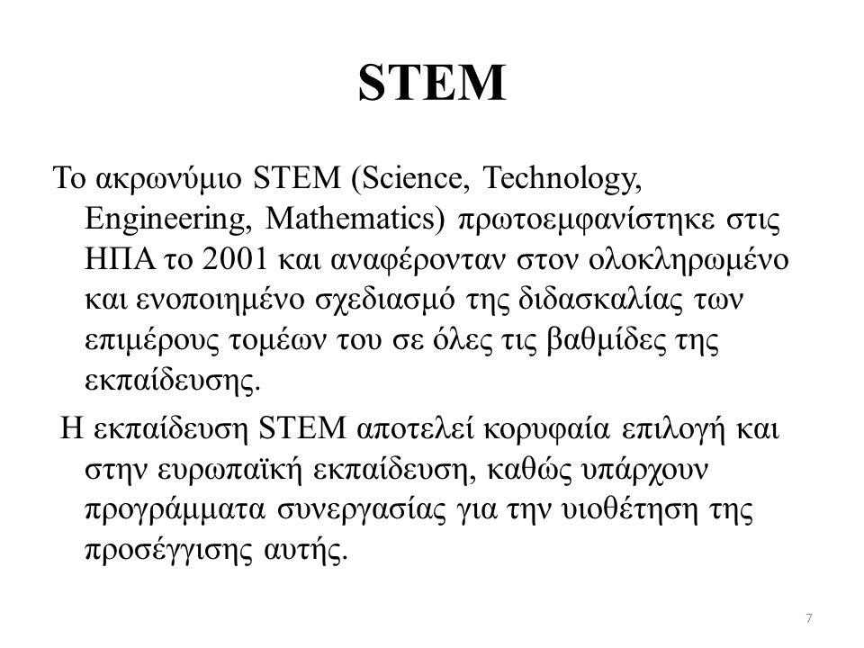 STEM Το ακρωνύμιο STEM (Science, Technology, Engineering, Mathematics) πρωτοεμφανίστηκε στις ΗΠΑ το 2001 και αναφέρονταν στον ολοκληρωμένο και ενοποιημένο σχεδιασμό της διδασκαλίας των επιμέρους τομέων του σε όλες τις βαθμίδες της εκπαίδευσης.