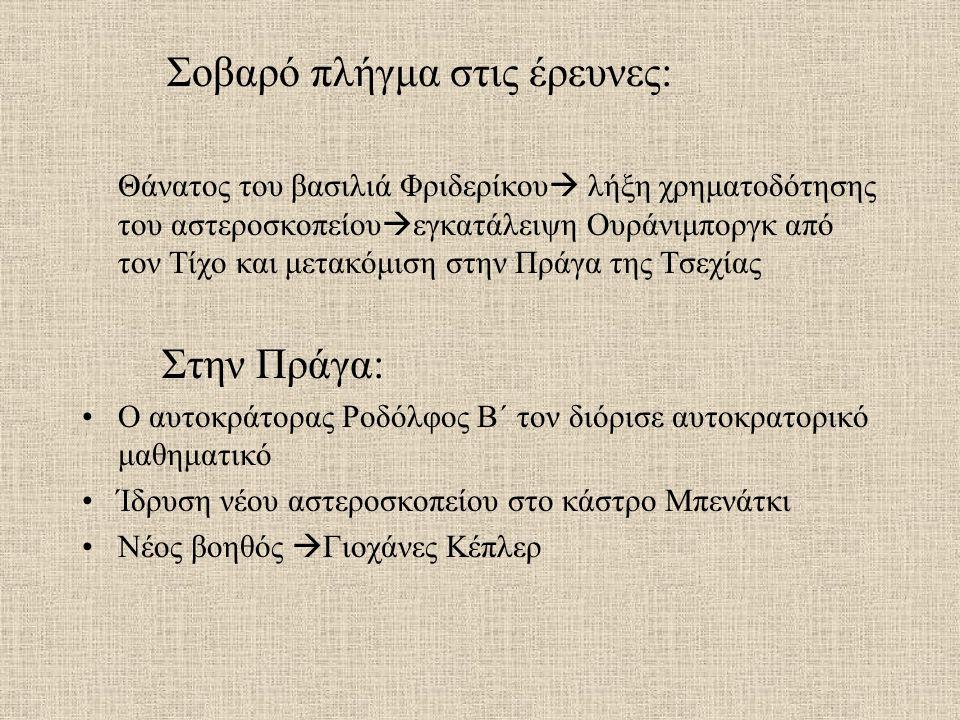 Σοβαρό πλήγμα στις έρευνες: Θάνατος του βασιλιά Φριδερίκου  λήξη χρηματοδότησης του αστεροσκοπείου  εγκατάλειψη Ουράνιμποργκ από τον Τίχο και μετακόμιση στην Πράγα της Τσεχίας Στην Πράγα: Ο αυτοκράτορας Ροδόλφος Β΄ τον διόρισε αυτοκρατορικό μαθηματικό Ίδρυση νέου αστεροσκοπείου στο κάστρο Μπενάτκι Νέος βοηθός  Γιοχάνες Κέπλερ