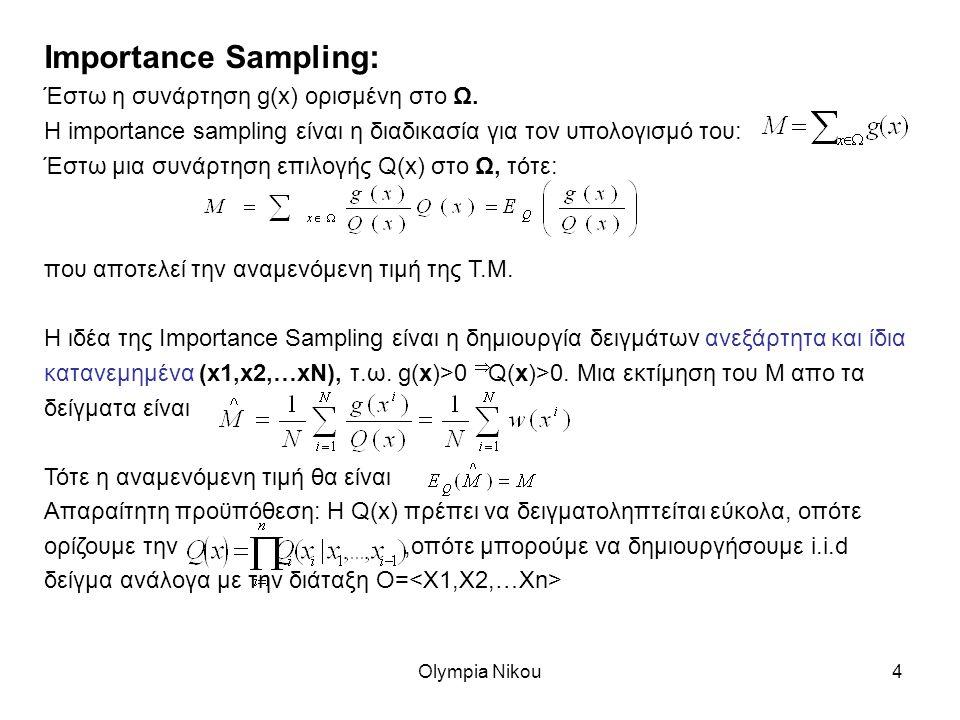 Olympia Nikou4 Importance Sampling: Έστω η συνάρτηση g(x) ορισμένη στο Ω.