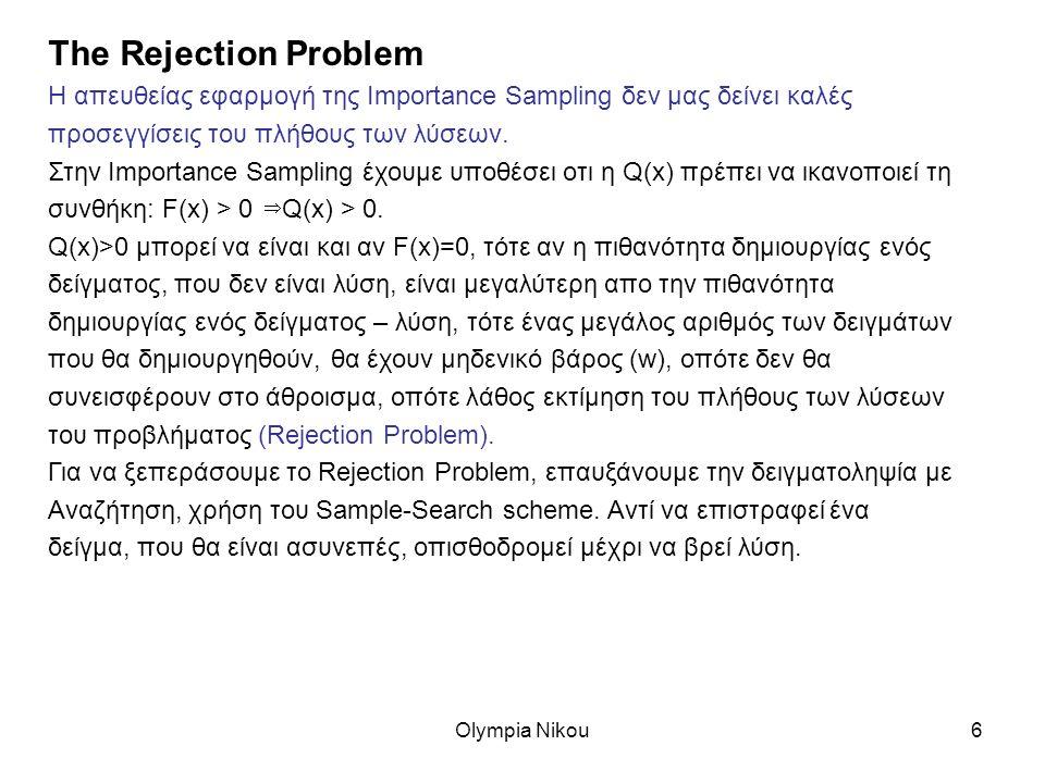 Olympia Nikou6 The Rejection Problem Η απευθείας εφαρμογή της Importance Sampling δεν μας δείνει καλές προσεγγίσεις του πλήθους των λύσεων.