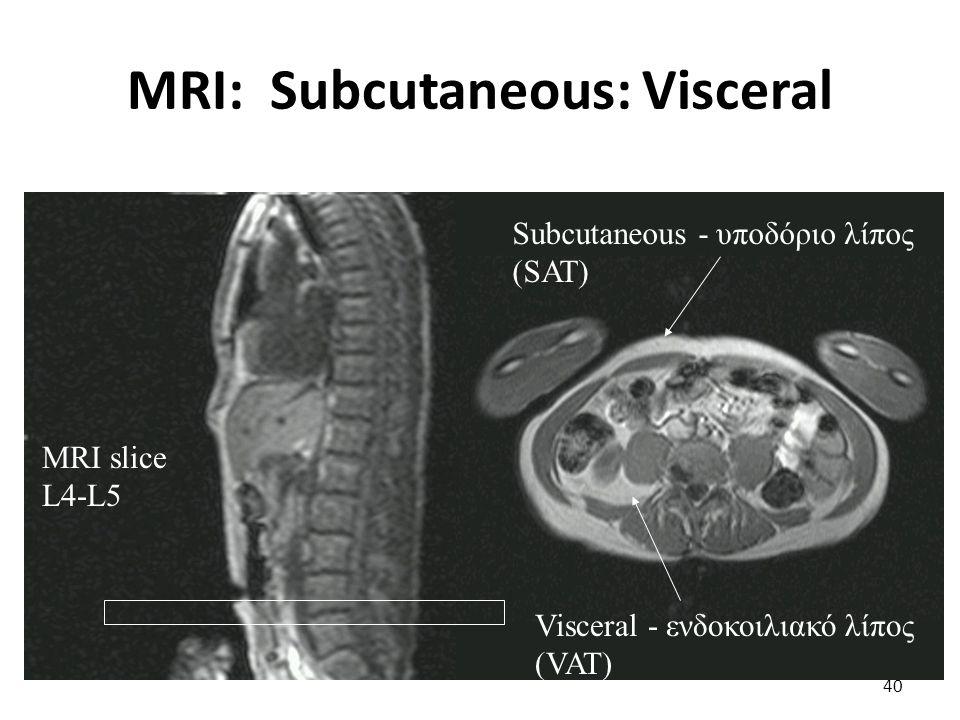 MRI: Subcutaneous: Visceral 40 MRI slice L4-L5 Subcutaneous - υποδόριο λίπος (SAT) Visceral - ενδοκοιλιακό λίπος (VAT)