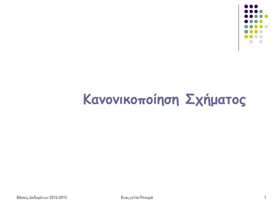 Βάσεις Δεδομένων 2012-2013Ευαγγελία Πιτουρά1 Κανονικοποίηση Σχήματος