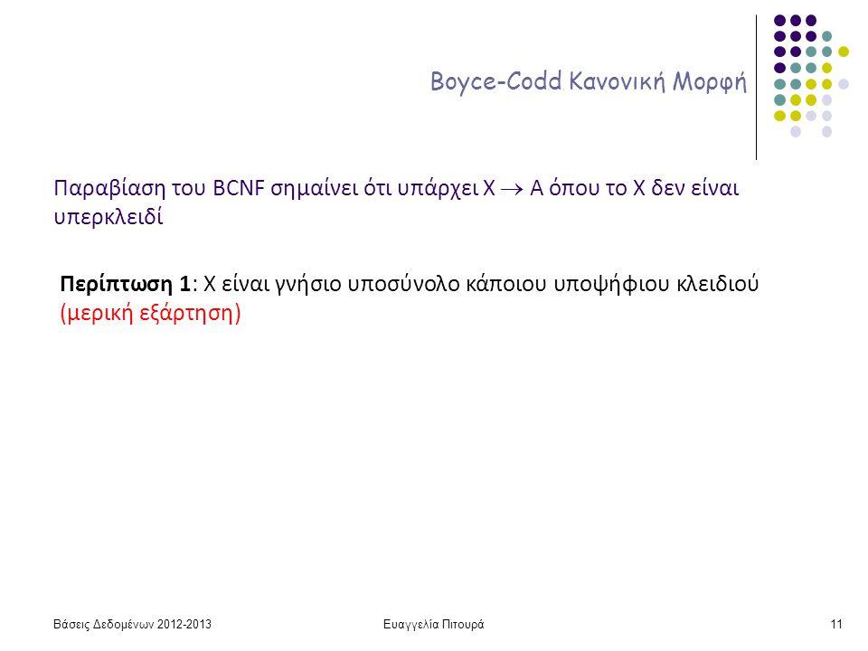 Ευαγγελία Πιτουρά11 Boyce-Codd Κανονική Μορφή Παραβίαση του BCNF σημαίνει ότι υπάρχει X  A όπου το Χ δεν είναι υπερκλειδί Περίπτωση 1: Χ είναι γνήσιο υποσύνολο κάποιου υποψήφιου κλειδιού (μερική εξάρτηση) Βάσεις Δεδομένων 2012-2013