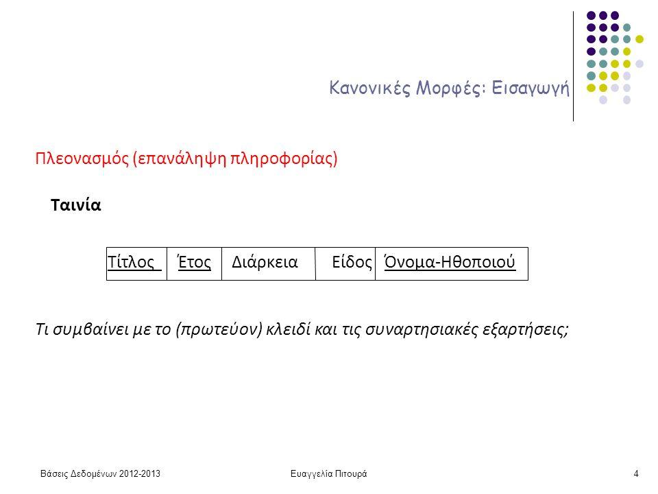 Ευαγγελία Πιτουρά4 Κανονικές Μορφές: Εισαγωγή Πλεονασμός (επανάληψη πληροφορίας) Ταινία Τίτλος Έτος Διάρκεια Είδος Όνομα-Ηθοποιού Τι συμβαίνει με το (πρωτεύον) κλειδί και τις συναρτησιακές εξαρτήσεις; Βάσεις Δεδομένων 2012-2013
