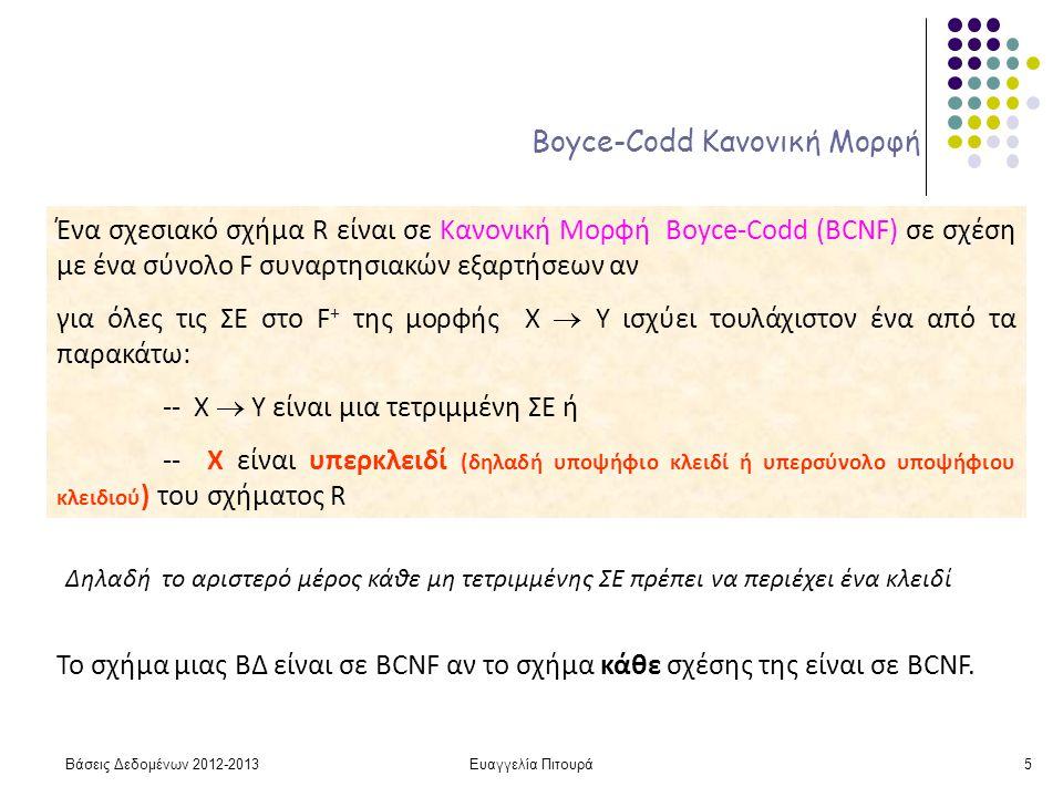Ευαγγελία Πιτουρά5 Boyce-Codd Κανονική Μορφή Ένα σχεσιακό σχήμα R είναι σε Κανονική Μορφή Boyce-Codd (BCNF) σε σχέση με ένα σύνολο F συναρτησιακών εξαρτήσεων αν για όλες τις ΣΕ στο F + της μορφής X  Y ισχύει τουλάχιστον ένα από τα παρακάτω: -- X  Y είναι μια τετριμμένη ΣΕ ή -- X είναι υπερκλειδί (δηλαδή υποψήφιο κλειδί ή υπερσύνολο υποψήφιου κλειδιού ) του σχήματος R Δηλαδή το αριστερό μέρος κάθε μη τετριμμένης ΣΕ πρέπει να περιέχει ένα κλειδί Το σχήμα μιας ΒΔ είναι σε BCNF αν το σχήμα κάθε σχέσης της είναι σε BCNF.