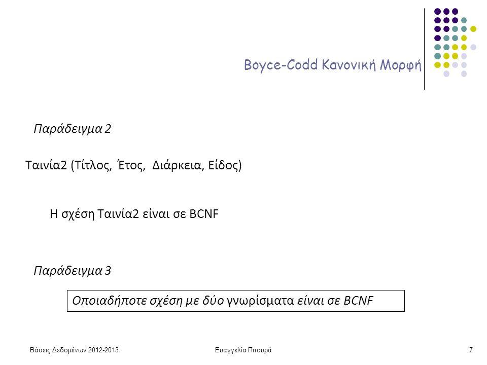 Ευαγγελία Πιτουρά7 Boyce-Codd Κανονική Μορφή Παράδειγμα 2 Ταινία2 (Τίτλος, Έτος, Διάρκεια, Είδος) Η σχέση Ταινία2 είναι σε BCNF Παράδειγμα 3 Οποιαδήποτε σχέση με δύο γνωρίσματα είναι σε BCNF Βάσεις Δεδομένων 2012-2013