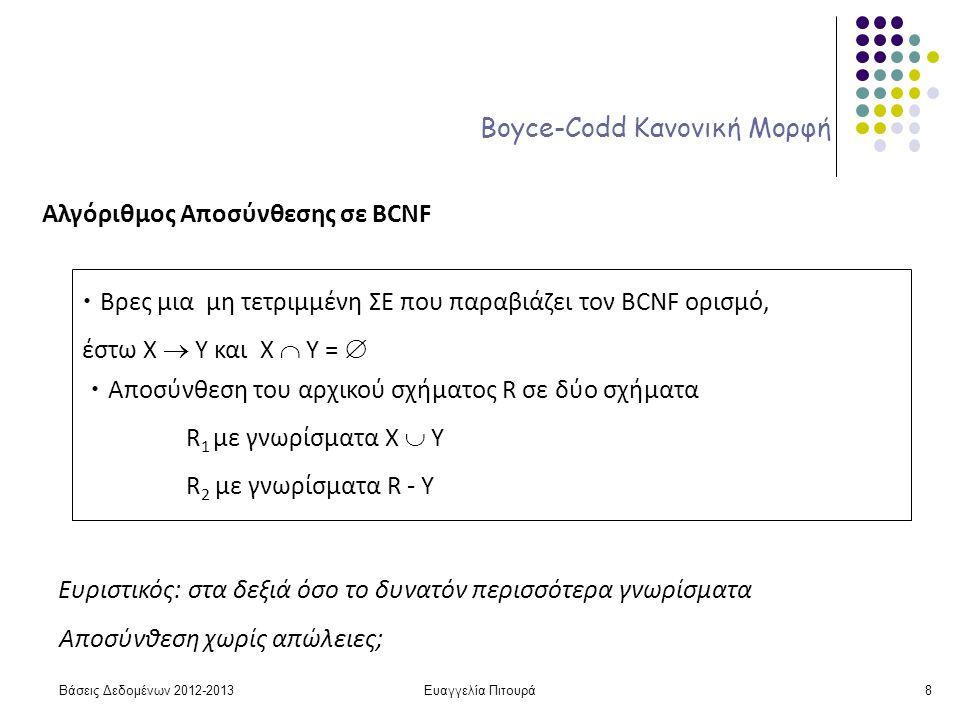 Ευαγγελία Πιτουρά8 Boyce-Codd Κανονική Μορφή Αλγόριθμος Αποσύνθεσης σε BCNF Βρες μια μη τετριμμένη ΣΕ που παραβιάζει τον BCNF ορισμό, έστω X  Y και Χ  Υ =  Αποσύνθεση του αρχικού σχήματος R σε δύο σχήματα R 1 με γνωρίσματα Χ  Y R 2 με γνωρίσματα R - Y Ευριστικός: στα δεξιά όσο το δυνατόν περισσότερα γνωρίσματα Αποσύνθεση χωρίς απώλειες; Βάσεις Δεδομένων 2012-2013