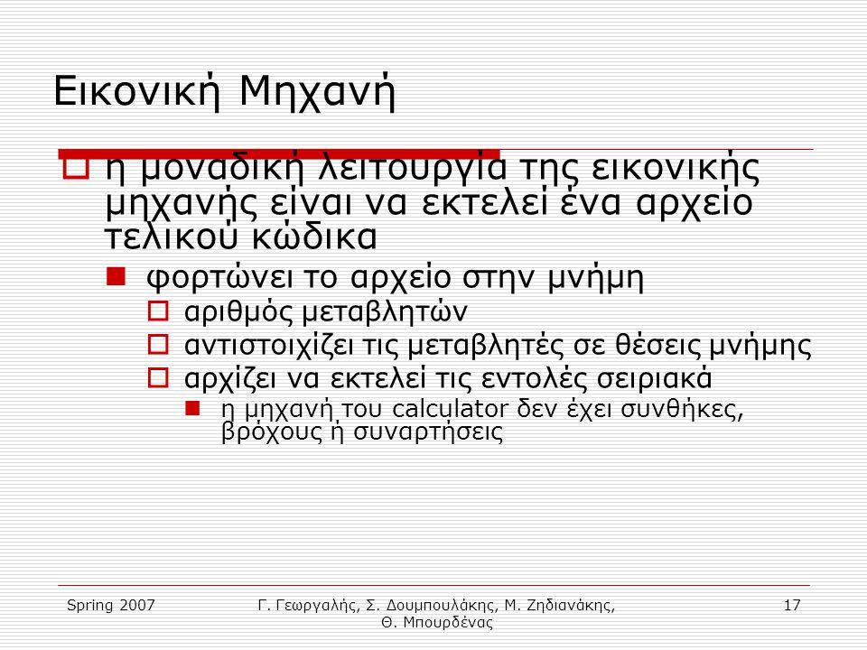 Spring 2007Γ. Γεωργαλής, Σ. Δουμπουλάκης, Μ. Ζηδιανάκης, Θ. Μπουρδένας 17 Εικονική Μηχανή  η μοναδική λειτουργία της εικονικής μηχανής είναι να εκτελ