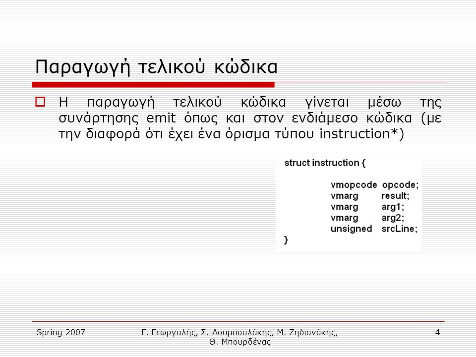 Spring 2007Γ. Γεωργαλής, Σ. Δουμπουλάκης, Μ. Ζηδιανάκης, Θ. Μπουρδένας 4 Παραγωγή τελικού κώδικα  Η παραγωγή τελικού κώδικα γίνεται μέσω της συνάρτησ