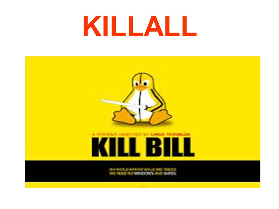 Άλλη μια πολύ χρήσιμη εντολή είναι η kill, την οποία μπορούμε να χρησιμοποιήσουμε για να τερματίσουμε μια εφαρμογή που έχει κολλήσει, ή που εμείς θέλουμε να «σκοτώσουμε».