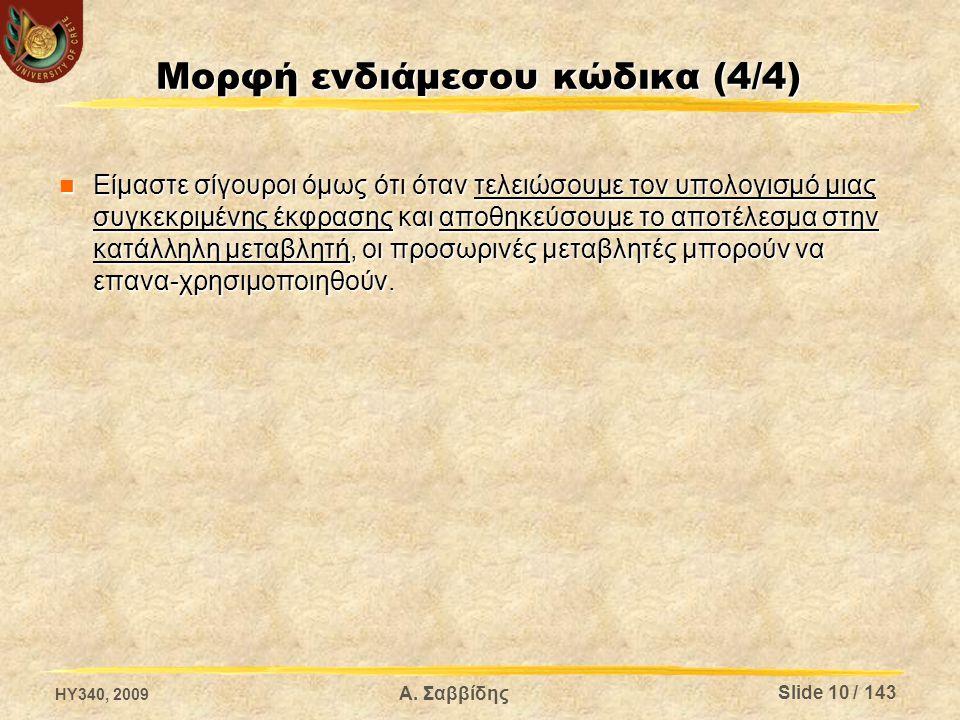 Μορφή ενδιάμεσου κώδικα (4/4) Είμαστε σίγουροι όμως ότι όταν τελειώσουμε τον υπολογισμό μιας συγκεκριμένης έκφρασης και αποθηκεύσουμε το αποτέλεσμα στ