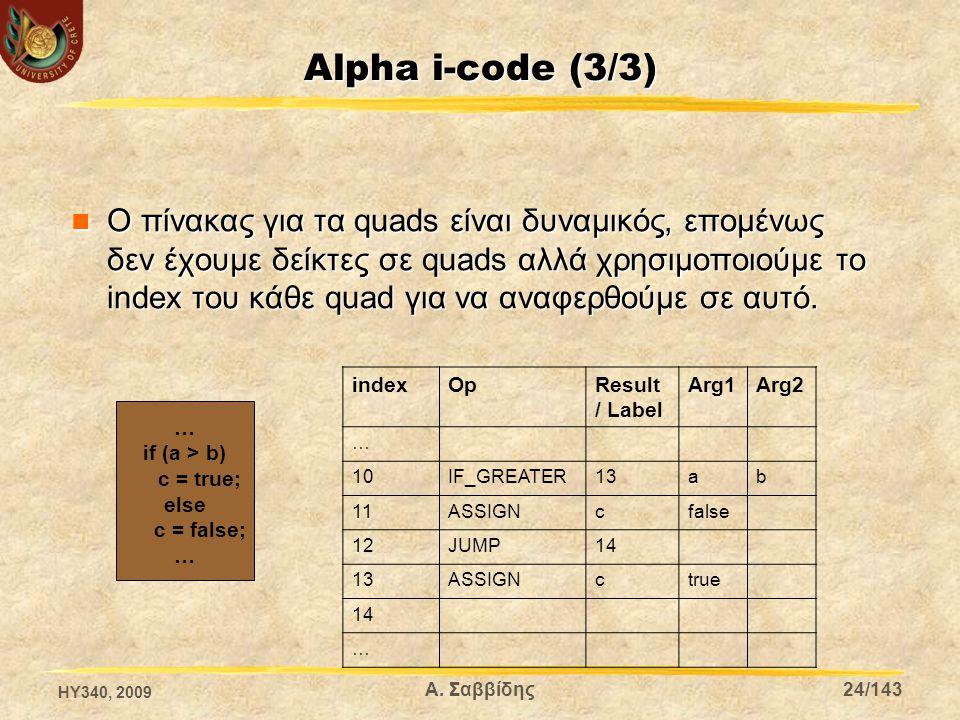 Alpha i-code (3/3) Ο πίνακας για τα quads είναι δυναμικός, επομένως δεν έχουμε δείκτες σε quads αλλά χρησιμοποιούμε το index του κάθε quad για να αναφερθούμε σε αυτό.