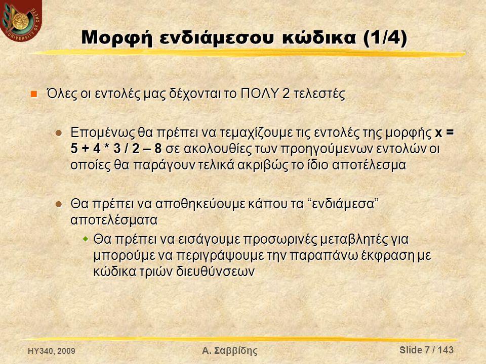 Μορφή ενδιάμεσου κώδικα (1/4) Όλες οι εντολές μας δέχονται το ΠΟΛΥ 2 τελεστές Όλες οι εντολές μας δέχονται το ΠΟΛΥ 2 τελεστές Επομένως θα πρέπει να τε