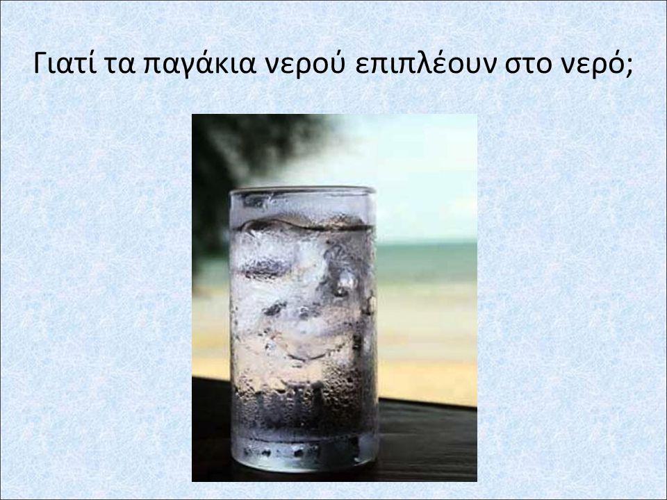 Γιατί τα παγάκια νερού επιπλέουν στο νερό;