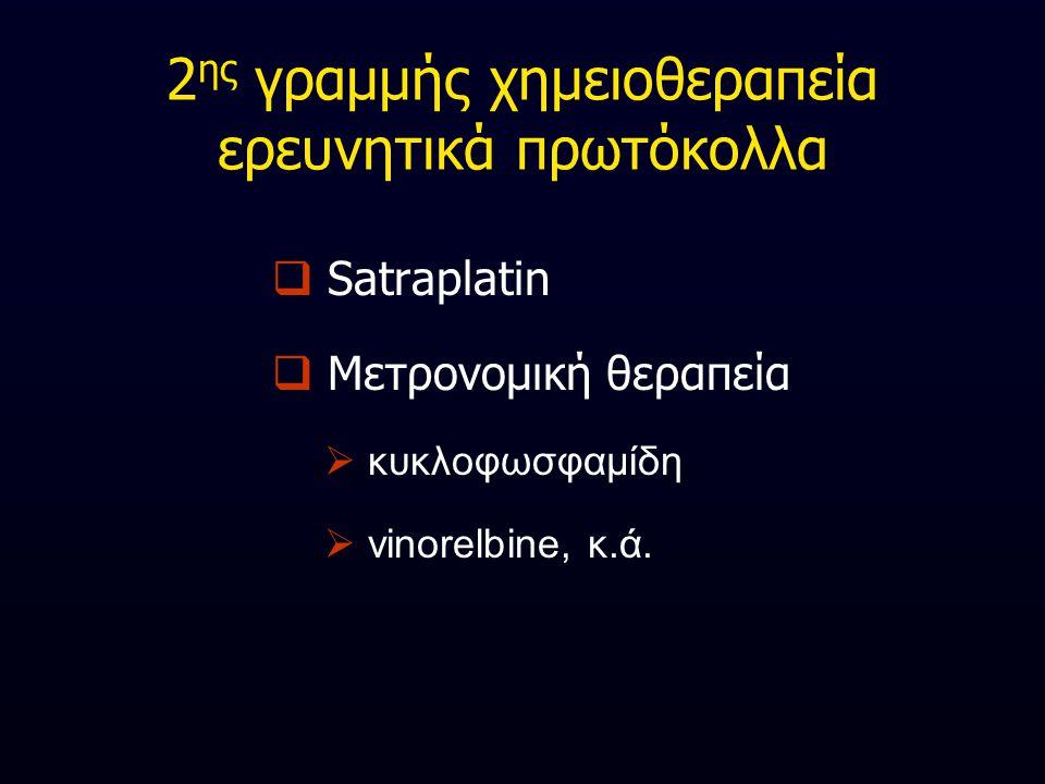 2 ης γραμμής χημειοθεραπεία ερευνητικά πρωτόκολλα  Satraplatin  Μετρονομική θεραπεία  κυκλοφωσφαμίδη  vinorelbine, κ.ά.