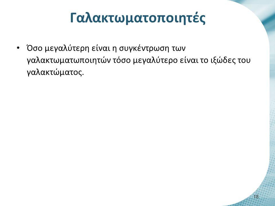 Γαλακτωματοποιητές Όσο μεγαλύτερη είναι η συγκέντρωση των γαλακτωματωποιητών τόσο μεγαλύτερο είναι το ιξώδες του γαλακτώματος. 18