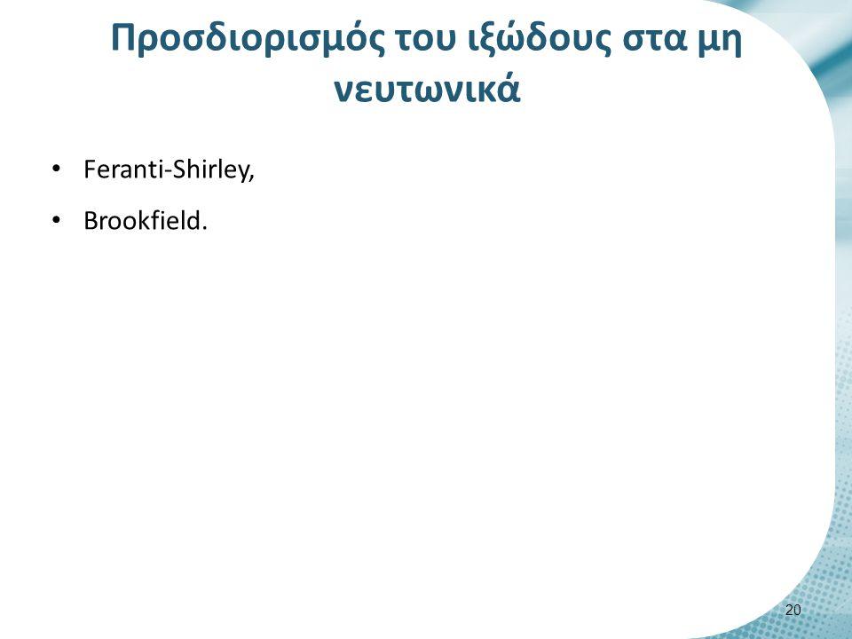 Προσδιορισμός του ιξώδους στα μη νευτωνικά Feranti-Shirley, Brookfield. 20