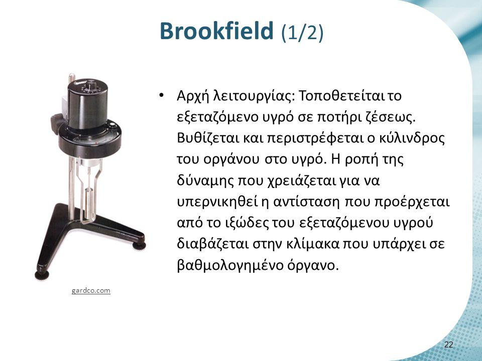 Brookfield (1/2) 22 gardco.com Αρχή λειτουργίας: Τοποθετείται το εξεταζόμενο υγρό σε ποτήρι ζέσεως.