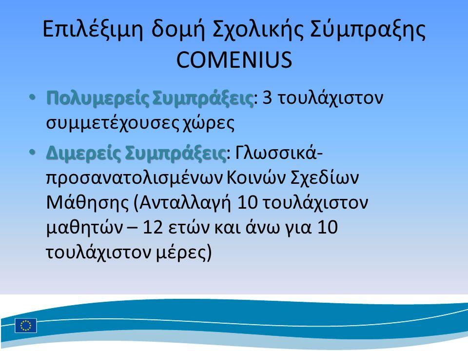 Επιλέξιμη δομή Σχολικής Σύμπραξης COMENIUS Πολυμερείς Συμπράξεις Πολυμερείς Συμπράξεις: 3 τουλάχιστον συμμετέχουσες χώρες Διμερείς Συμπράξεις Διμερείς Συμπράξεις: Γλωσσικά- προσανατολισμένων Κοινών Σχεδίων Μάθησης (Ανταλλαγή 10 τουλάχιστον μαθητών – 12 ετών και άνω για 10 τουλάχιστον μέρες)