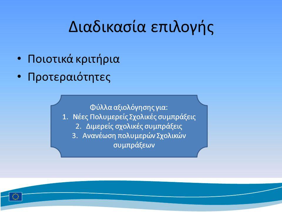 Διαδικασία επιλογής Ποιοτικά κριτήρια Προτεραιότητες Φύλλα αξιολόγησης για: 1.Νέες Πολυμερείς Σχολικές συμπράξεις 2.Διμερείς σχολικές συμπράξεις 3.Ανανέωση πολυμερών Σχολικών συμπράξεων