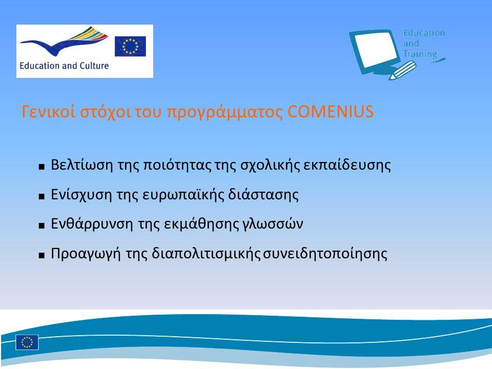 ■ Βελτίωση της ποιότητας της σχολικής εκπαίδευσης ■ Ενίσχυση της ευρωπαϊκής διάστασης ■ Ενθάρρυνση της εκμάθησης γλωσσών ■ Προαγωγή της διαπολιτισμικής συνειδητοποίησης Γενικοί στόχοι του προγράμματος COMENIUS