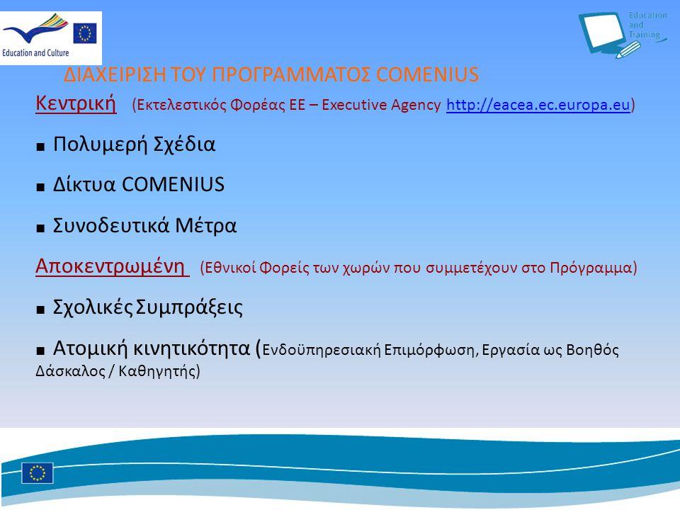 Κεντρική (Εκτελεστικός Φορέας ΕΕ – Executive Agency http://eacea.ec.europa.eu) http://eacea.ec.europa.eu ■ Πολυμερή Σχέδια ■ Δίκτυα COMENIUS ■ Συνοδευτικά Μέτρα Αποκεντρωμένη (Εθνικοί Φορείς των χωρών που συμμετέχουν στο Πρόγραμμα) ■ Σχολικές Συμπράξεις ■ Ατομική κινητικότητα ( Ενδοϋπηρεσιακή Επιμόρφωση, Εργασία ως Βοηθός Δάσκαλος / Καθηγητής) ΔΙΑΧΕΙΡΙΣΗ ΤΟΥ ΠΡΟΓΡΑΜΜΑΤΟΣ COMENIUS