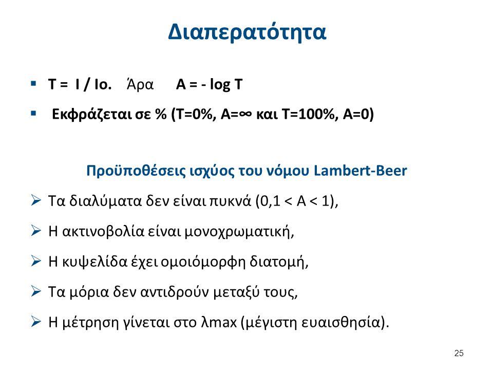 Διαπερατότητα  T = I / Io. Άρα Α = - log T  Εκφράζεται σε % (Τ=0%, Α=∞ και Τ=100%, Α=0) Προϋποθέσεις ισχύος του νόμου Lambert-Beer  Τα διαλύματα δε