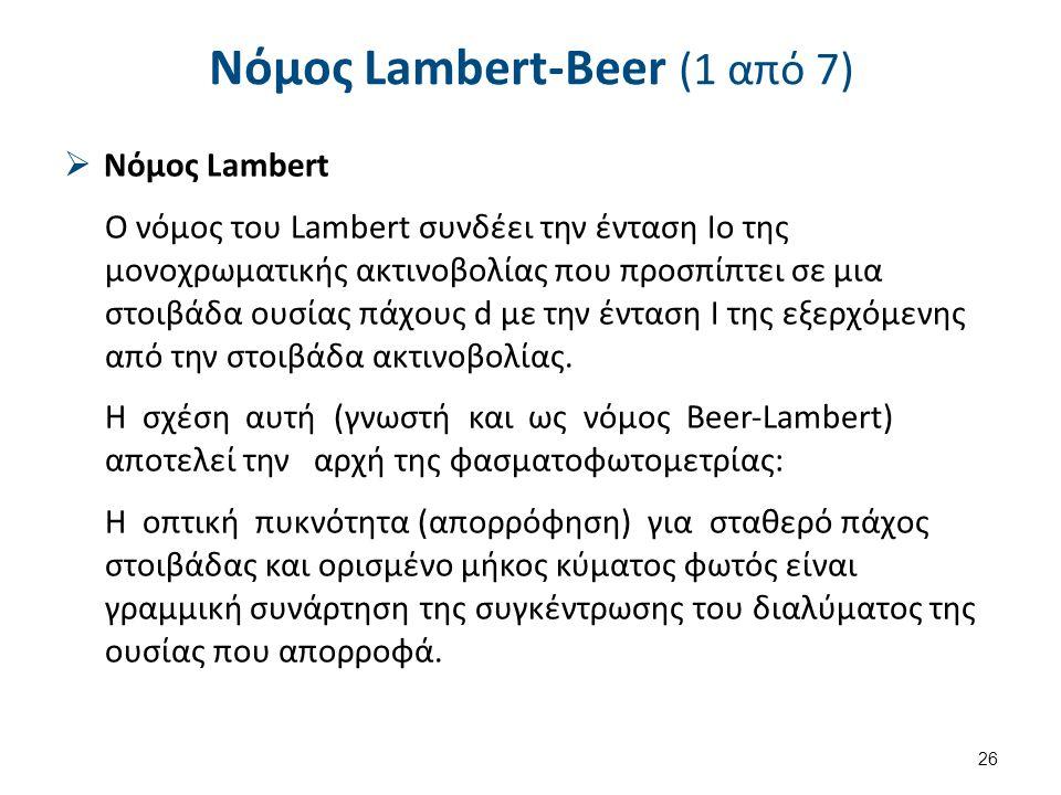 Νόμος Lambert-Beer (1 από 7)  Νόμος Lambert Ο νόμος του Lambert συνδέει την ένταση Ιο της μονοχρωματικής ακτινοβολίας που προσπίπτει σε μια στοιβάδα