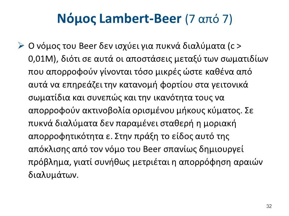 Νόμος Lambert-Beer (7 από 7)  Ο νόμος του Beer δεν ισχύει για πυκνά διαλύματα (c > 0,01M), διότι σε αυτά οι αποστάσεις μεταξύ των σωματιδίων που απορ