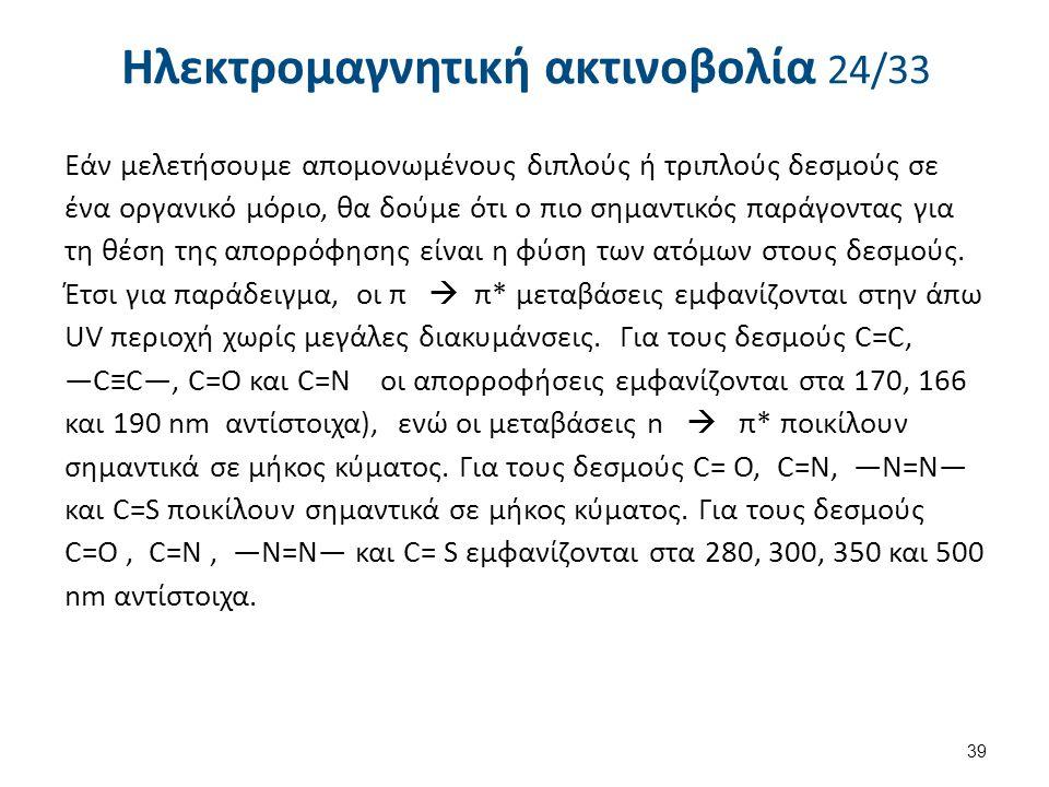 Ηλεκτρομαγνητική ακτινοβολία 24/33 Εάν μελετήσουμε απομονωμένους διπλούς ή τριπλούς δεσμούς σε ένα οργανικό μόριο, θα δούμε ότι ο πιο σημαντικός παράγ